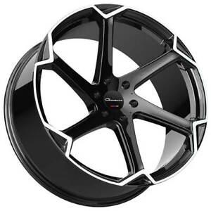 """4ea 22"""" Giovanna Wheels Dalar-X Gloss Black/Machined Face Rims(S45)"""