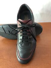Pre Owned Salvatore Ferragamo Black and Red Leather Sneakers 9.5EE