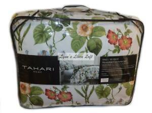 TAHARI Botanical Floral 6P KING COMFORTER SET NEW COTTON REVERSIBLE