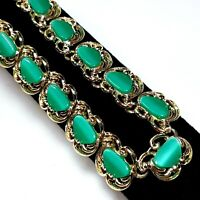 Vintage Green Moonglow Thermoset Panel Link Necklace Mid Century Gold Tone EUC