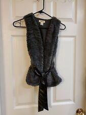 Belle Du Jour Girls Gray Faux Fur Vest W/Black Faux Leather Belt/Sash Size S