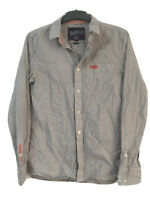 Superdry Mens Stripy White/Grey Cotton Long Sleeve Shirt M(D153)