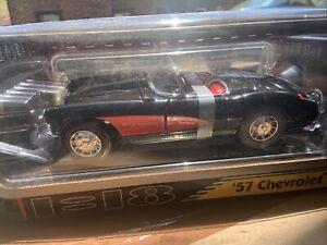 Die Cast Metal Collection 57' Chevrolet Corvette Car 1:18 Scale Red Black