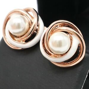 Unique White Pearl Earrings Stud Women Jewelry Gift 14K Rose Gold Plated
