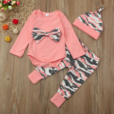 Newborn Toddler Baby Girls Top Romper Camoufalge Pants 3pcs Outfits Set Clothes #1 18-24 Months