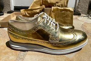 Cole Haan Lunargrand Wing Tip Metallic Gold Size 9.5 NEW MINT IN BOX Beautiful!