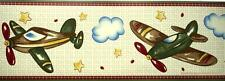 Vintage AIRPLANES WALL BORDER Jet CoCaLo In Flight Boys Nursery Plane Wall Decor