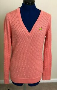Womens Bobby Jones Augusta National Masters Cable Knit Sweater Melon Size Medium