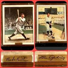 BABE RUTH & LOU GEHRIG Framed CANVAS Paintings by The Bradford Museum Press NEW