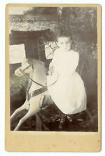 VINTAGE YOUNG GIRL CLASSIC VICTORIAN TOY: Child and Rocking Horse Cabinet Card