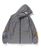 BAPE A Bathing Ape Reflector Shark Hoodie Jacket 3M Silver Size 2XL Brand New