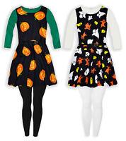 Girls Long Sleeved Halloween Costume New Kids Dress Leggings Set Age 5-13 Years