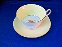 VINTAGE ROSINA TEA CUP AND SAUCER - YELLOW & WHITE W CENTER FLORAL DESIGN