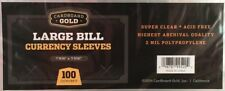 1000 CBG Large Bill Currency 2-Mil Acid Free Soft Poly Sleeves covers protectors