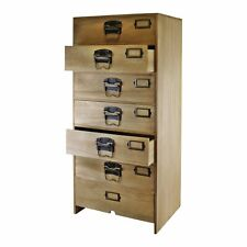 Tall Wooden Chest of 7 Drawers Storage Cupboard Furniture Organiser Metal Handle