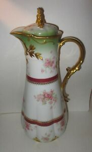 C Field Haviland Co Limoges Porcelain Chocolate Pot Hand Painted Roses Gold Gilt