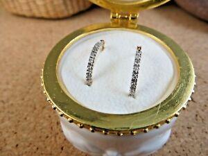 10k Yellow Gold Diamond Hoop Wire Latch Back Earrings In Porcelain Gift Box #218