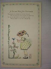 VINTAGE GIBSON VALENTINE'S POSTCARD GIRL SINGING W/ BIRD, FLOWERS & SWEET POEM
