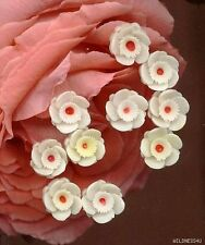 10 VINTAGE PLASTIC Ivory Cream Flowers JAPAN Cabs cabochon Jewelery findings lot
