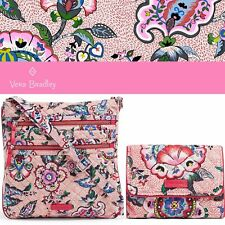 Vera Bradley Set Triple Zip Hipster &  RFID Riley Wallet in Stitched Flowers
