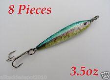 8 Pieces 3.5oz Mega Live bait Metal Jigs Saltwater Fishing Lures - Rainbow