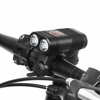 2400LM Double LED Rechargeable Bicycle Head Light Bike USB Lamp + Rotate Mount