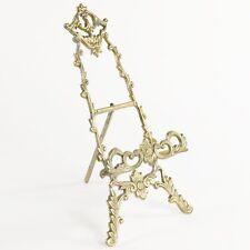 "Vtg Ornate Solid Brass Picture Art Plate Easel Holder Stand Display 10"""