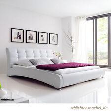 CELINE Polsterbett Kunstlederbett Bett Designerbett Futonbett 120x200 - Weiß