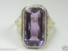 Antique Art Deco Vintage Amethyst Engagement 14K Yellow Gold Ring Size 5.75 UK-L