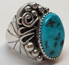 Navajo GW Sterling Turquoise Men's Ring; Size 10.5