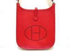 Auth HERMES Evelyn TPM Vermillion Veau Epsom Square I Shoulder Bag
