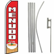 Menudo Red / White Swooper Flag & 16ft Flagpole Kit/Ground Spike