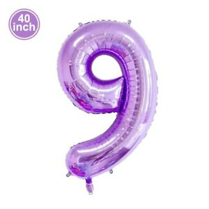 40'' Large Purple Number Balloons Foil Ballons Anniversary Birthday Party Decor