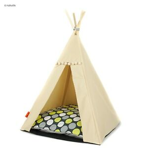 Dog Teepee bed - Green Dots, dog tipi including pillow*luxury dog house*dog tent