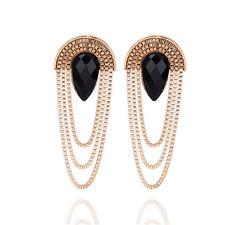 Fashion Women Gold Chain Tassel Dangle Resin Drop Ear Stud Earring Jewelry Gift