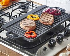 Cast Iron Non Stick Reversible Griddle Plate Fry BBQ Grill Cooking Pan Pizza Hob