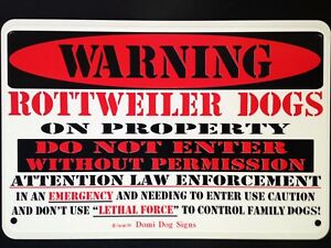"""Metal Warning Rottweiler Dogs Sign For FENCE ,Beware Of Dog 8""""x12"""""""
