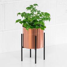 Small 25cm Indoor Plant Pot Stand Black Metal & Copper 15cm Pot Holder Planter