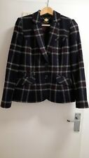 Phase Eight Black Classic Check Wool Jacket Size 12