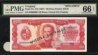 Uruguay Specimen 100 Pesos 1967  PMG 66 EPQ UNC Pick # 47s