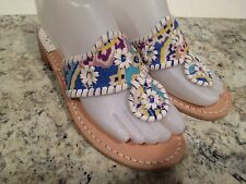 Jack Rogers Navajo Sandals Flat Fabric Leather Thong Flip Flop Multi White 5-5.5