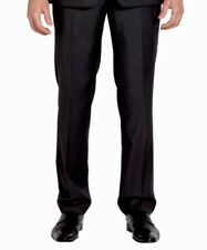 NWT VAN HEUSEN Suit Dress Pant Mens 36 X 32 Black Flat Front 100% Wool MSRP $155