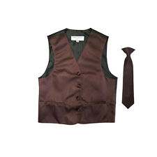 New Boy's Kid formal Tuxedo Vest Waistcoat & Necktie Brown US 2 4 6 8 10 12 14