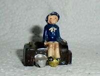 "Johillco (John Hill & Co) Vintage Lead ""Girl on Suitcases"" Near Mint F/S"