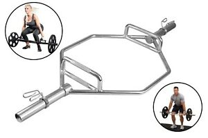 """Shrug Trap Hex Bar with 2"""" Olympic Spring Collars - Barbell for Deadlift & Squat"""