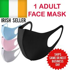 Black Face Mask Reusable & Washable Silk Cotton IRELAND 2 day delivery