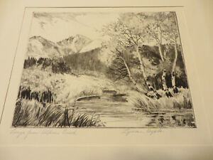 "LYMAN BYXBE ""Longs from Alpine Brook"" Colorado Artist Original Signed Etching."