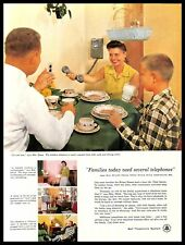 1956 Bell Telephone System Vintage PRINT AD Phone Family Breakfast Table 1950s