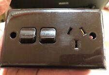 Brown Single Power Point + Switch Vintage Ring Grip Australia 10Amp Rocker SC4
