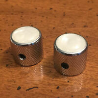 GUITAR KNOB SET - 2 Piece DOME with PEARL TOP Metal Barrel Style - CHROME